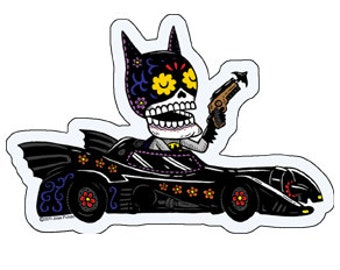 Bat Calavera Die Cut Vinyl Sticker