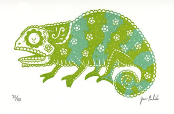 sugar skull chameleon limited edition gocco screenprint