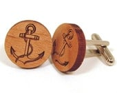 Anchor Wooden Cuff Links - memoriesforlifesb