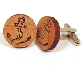Anchor Wooden Cuff Links