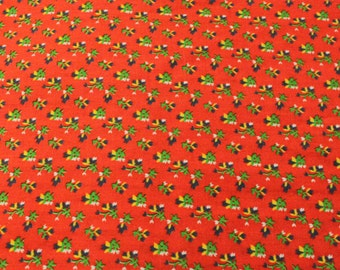 Cute Calico Print Fabric - 1 7/8 Yards - Red Green Floral / Small Print / Small Floral Print / Vintage Calico / Vintage Fabric