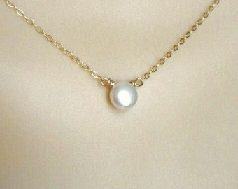 White  pearl necklace -14K gold filled, bridal jewelry, freshwater pearl, pearl coin