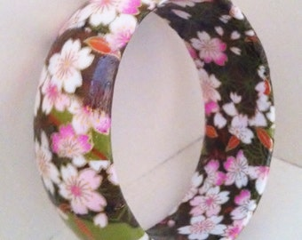Olive, Pink & White Blossoms Handmade Wood Bangle by cadencedesigns on etsy