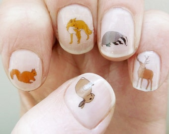 woodland nail stickers