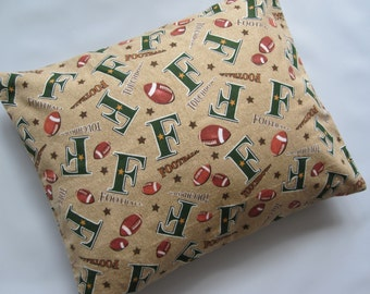 The Perfect Toddler Pillow ... Footballs Touchdown Tan Brown Flannel ... Original Design by Sew Cinnamon