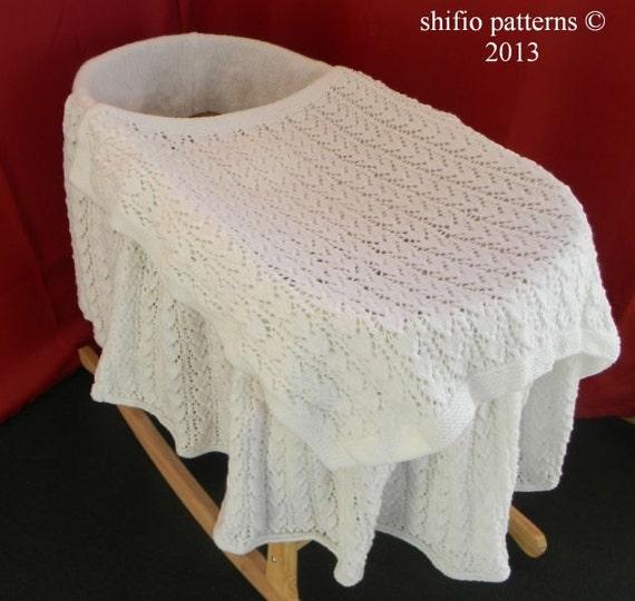 Knitting Pattern Moses Basket Blanket : Baby Knitting Pattern Moses Basket Cover, Blanket Knitting Pattern DIGITAL DO...