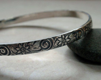 Floral Pattern Bangle Oxidized Sterling Silver Swirls and Flowers