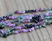 Tiny Watermelon Tourmaline Strand Pink Green Black Chips Beads 32 inch strand
