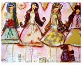 Art Print, Collage, Mixed Media, Paper Pretty Girls