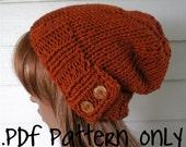 Knitting Pattern, Knit Hat Pattern, Easy Slouchy Beanie Beret, Chunky, winter, ski, urban, boho, vegan, teen