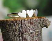 three hearts sterling silver ring - family, trio, besties, sisters, bridesmaids, Mothers Day, for 3 daughters