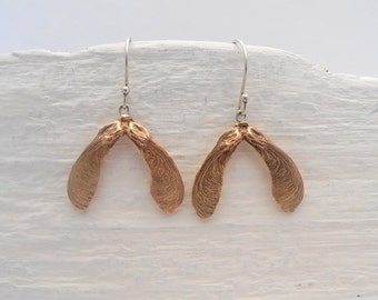 Big and beautiful bronze maple seed earrings