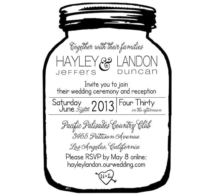 Wedding Invitation Rubber Stamps: Mason Jar Wedding Invitation Rubber Stamp 5714 By