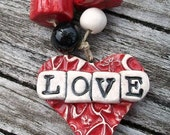 Ceramic Textured Heart Love Pendant with Spacer Beads Set