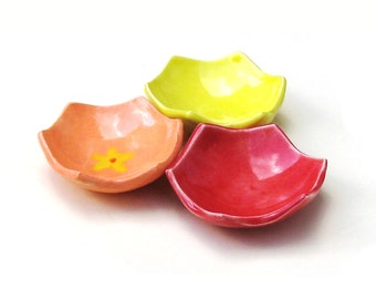 SALE Ceramic Ring Dishes Mini Set of 3 Pottery Bowls Red Yellow Orange Cute Little Dishes Small Ring Catchers Gift For Mom