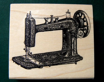 Vintage sewing machine rubber stamp WM  P11