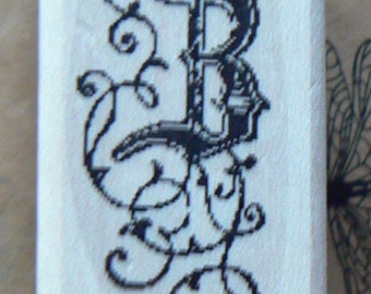 P29  Letter B monogram rubber stamp WM