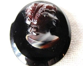 SALE Vintage Black Glass Victorian Tortoise Cameo Cabochon Was 7.00 Now 4.99