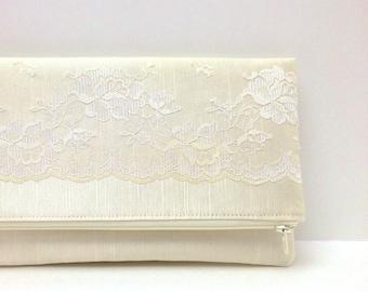 Wedding Clutch Foldover Purse, Bridal Accessory Gift Idea - Vintage Lace on Champagne Satin