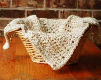 Crochet blanket ,Mini Blanket, Basket Stuffer ,minighan ,mat rug Newborn Photography Prop , 20 X 26 inches beige neutral colors