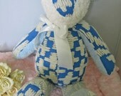 Vintage chenille teddy bear / baby toy / handmade accessory / boys blue / keepsake cottage pillow