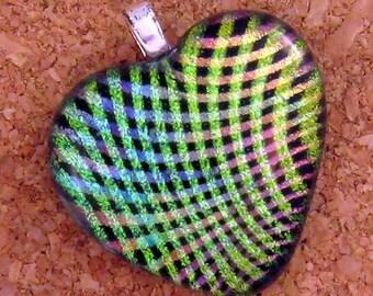 Dichroic Heart Pendant - Rainbow Jewelry - Fused Glass Pendant - Valentines  Day Jewelry