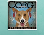 Welsh Corgi Records dog Company original graphic illustration giclee archival signed artist's print by Stephen Fowler PIck A Size