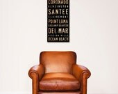 San Diego neighborhoods typography graphic art on gallery wrapped canvas original design by stephen fowler