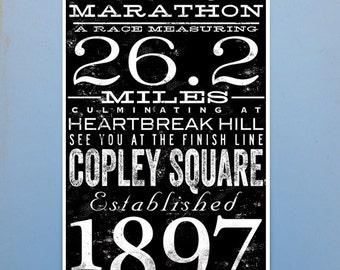 Boston Marathon original typography artwork by stephen fowler signed giclee artists print
