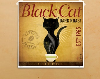 Black Cat Coffee Company graphic artwork giclee archival print by stephen fowler