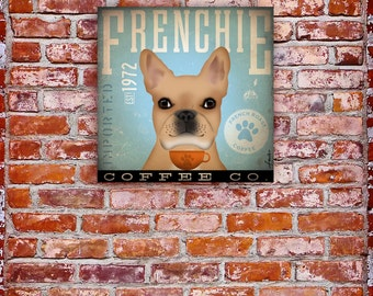 French Bulldog Coffee Company illustration graphic art on gallery wrapped canvas by stephen fowler