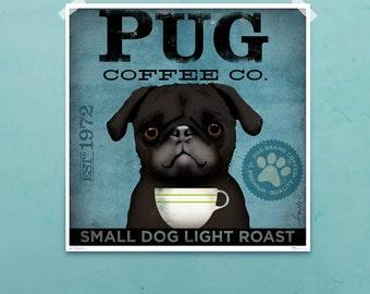PUG dog Coffee Company original illustration graphic artwork giclee archival print by stephen fowler geministudio Pick A Size