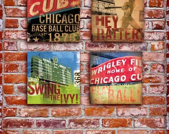 Set of 4 Wrigley Field Chicago Cubs baseball sign original art on canvas panel by stephen fowler