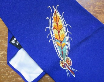 Vintage 50s Blue Feathers Tie handpainted Glitter Feathers 1950s MCM