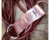 Faith - Copper and Leather Wrap Bracelet Customizable