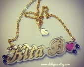 SYMBOL and CRYSTALS laser cut acrylic name necklace