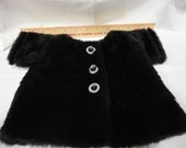 "Vintage Handmade Doll ""Faux Mink"" Fur Coat Fully Lined"