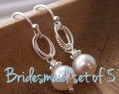 Bridesmaids earrings, Set of FIVE 5 Everyday pearl earrings, freshwater pearls, solid sterling silver ear wires, bridesmaids jewelry set