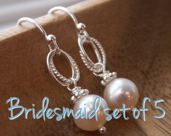 Pearl bridesmaid earrings set of 5, Cultured freshwater pearls on sterling silver