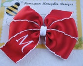 Monogrammed Baby Hairbow, Small Personalized Hair Bow, CHOOSE COLOR, Embroidered Hair Clip, 3 Inch Bow, Baby Girl Hairbows for Little Sister