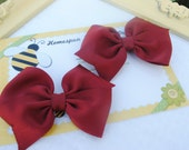Maroon Bows - Set of Two - Loopy School Spirit Hairbow Pair - Matching M2M - Flat Loop Uniform Hair Bows - Toddler Pigtails in Crimson