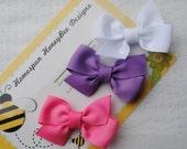 Baby Girl Bows - Princess Collection Bows - Petite Pinwheel Hairbows - Set of 3 Tiny Hair Bows - New Baby Gift - No Slip - Infant Hair Clips