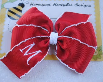 Large Monogrammed Hairbow - Personalized Hair Accessory - CUSTOM COLOR - Big Embroidered Hair Clip - M2M Toddler Hair Bow -Personalized Gift