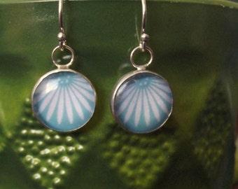Resin, Sterling Silver Flower Earrings OOAK
