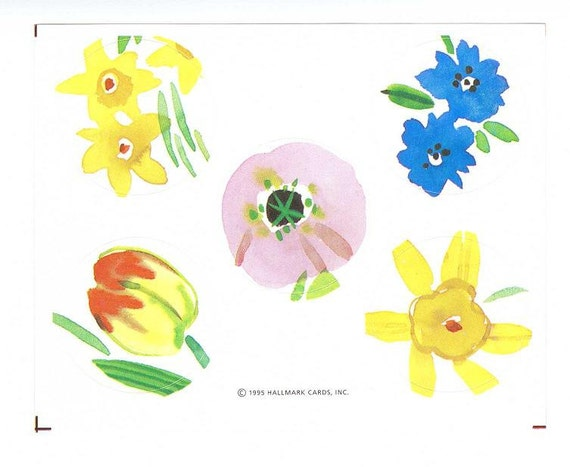 Hallmark flower letter seals stickers tulip pansy watercolor Hallmark flowers