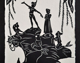 Sale 20% Off // PETER PAN and the MERMAIDS Papercut - Hand-Cut Silhouette // Coupon Code SALE20