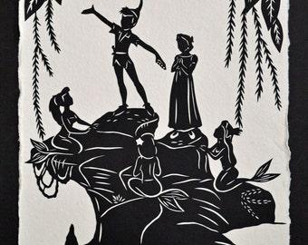 PETER PAN and the MERMAIDS Papercut - Hand-Cut Silhouette