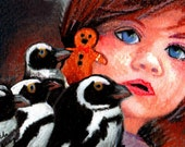 original art drawing aceo card  little girl and her penguins