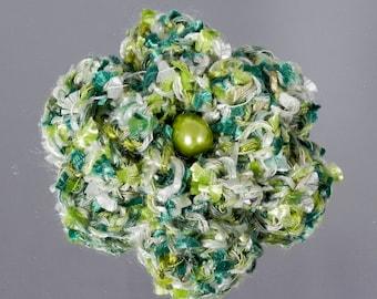 Crochet Flower Brooch - Greens