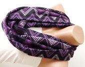 SALE-Chevron Scarf. Loop Scarf .Cowl Scarf. Circle Scarf. Purple. Jersey Scarf
